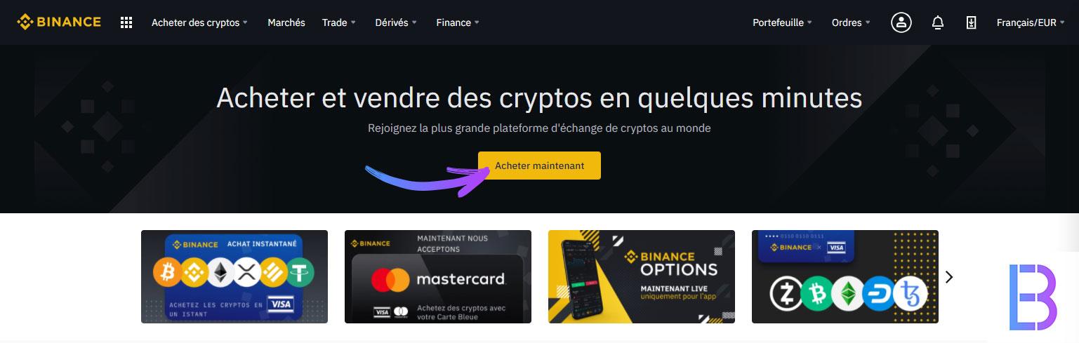 Acheter de la cryptomonnaie sur Binance